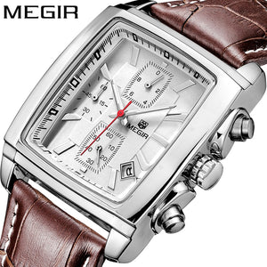 MEGIR Original Watch Men Top Brand Luxury Quartz Military Watches Leather Wristwatch Men Clock Relogio Masculino Erkek Kol Saati