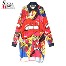 Load image into Gallery viewer, New 2018 Korean Style Women Plus Sizes Autumn Shirt Dress Colorful Printed Full Sleeves Lady Stylish Knee Length Midi Dress 3929