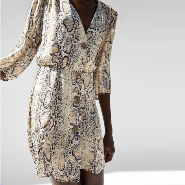 Women Autumn Dress Sexy V-Neck Button Snake Print Party Dresses Vintage Half Sleeve Mini Dress Snakeskin dress vestidos