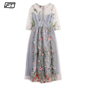 Fitaylor 2018 Fashion Embroidery Floral Plus Size Women Dress For Summer Casual Long Dress Vintage Evening Party Dresses Mujer