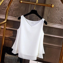 Load image into Gallery viewer, 2019 Fashion Brand Women's blouse Summer sleeveless Chiffon shirt Solid  V-neck Casual blouse Plus Size 4XL Loose Female Top
