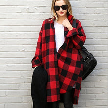 Load image into Gallery viewer, 2018 korean Red Plaid Blouse Women Vintage Long Sleeve Shirt Ladies Autumn Long Shirt Female Fashion Women Tops Cardigan Clothes