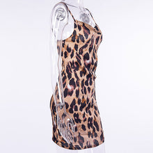 Load image into Gallery viewer, InstaHot Leopard Printed Satin Strap Dress Women Sexy Low Cut Side Zip Smooth Mini Dresses Wild Party Night Club Wear Outfit