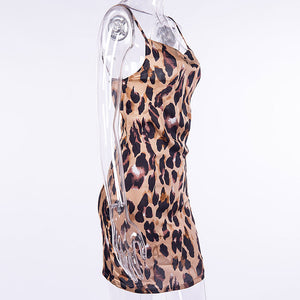 InstaHot Leopard Printed Satin Strap Dress Women Sexy Low Cut Side Zip Smooth Mini Dresses Wild Party Night Club Wear Outfit