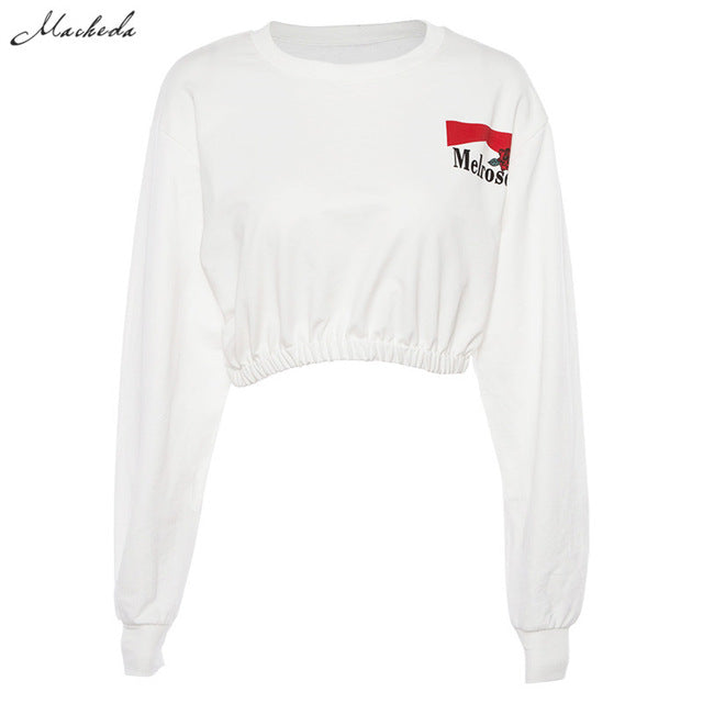 Macheda Sweatshirts Women Fashion Cropped O-Neck Long Sleeve Sweatshirt Pullover 2018 New Ladies White Casual Loose Crop Top