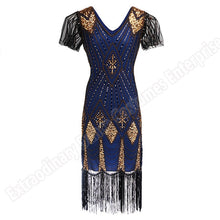 Load image into Gallery viewer, Great Gatsby Dress Women 1920 s Vintage Sequin Art Deco Double Flapper Dresses Vintage V Neck Party Dress Embellished Fringed