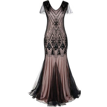 Load image into Gallery viewer, Women 1920s Great Gatsby Dress Long 20s Flapper Dress Vintage V Neck Short Sleeve Maxi Party Dress for Prom Cocktail