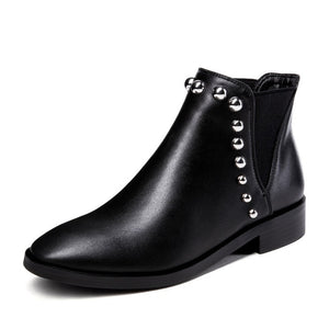 WETKISS New Thick Low Heels Women Ankle Boots Round Toe Pu Short Plush Footwear Rivet Female Boot Shoes Women 2018 Plus Size 43