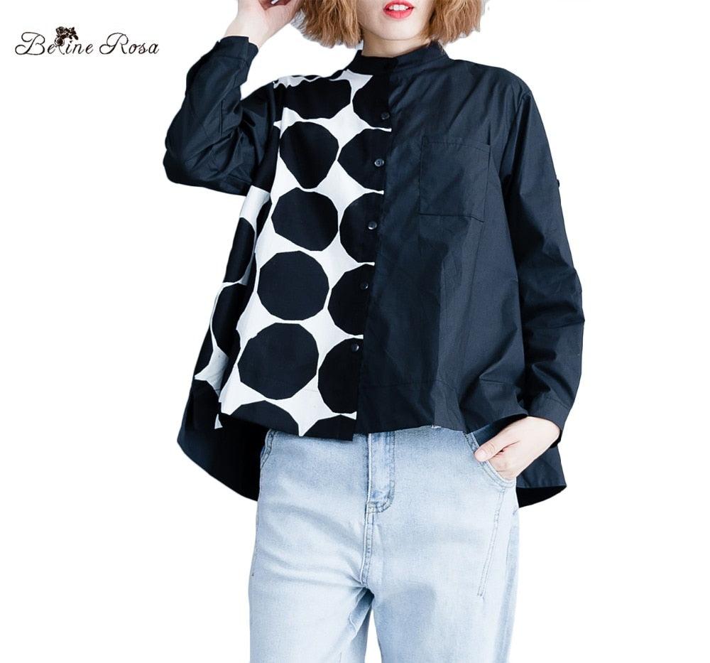 BelineRosa Large Size Women Clothing Polka Dot Long Sleeve Autumn Style Stand Collar Casual Tops Blouses Female DMNZ0028