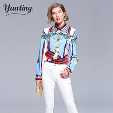 Load image into Gallery viewer, 2018 summer women vintage print shirt fashion chiffon long sleeve blouse retro casual tops plus size blusas