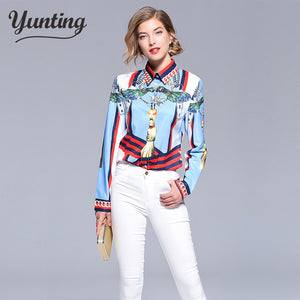 2018 summer women vintage print shirt fashion chiffon long sleeve blouse retro casual tops plus size blusas