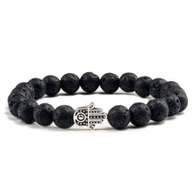 Load image into Gallery viewer, Charms Men Black Lava Matte Beads Natural Volcanic Stone Bracelets Bangles Women Yoga Prayer Jewelry Gold Sliver Hand Bracelet
