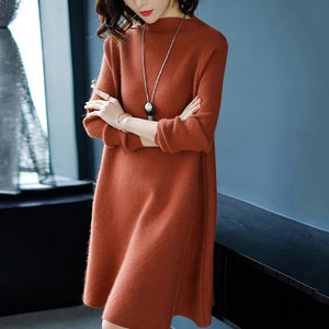 Women Dress Winter Loose Style Cashmere Knitted Dresses 2018 New Fashion Autumn Warm Long Pullover Dress Woman Thick Knitwear