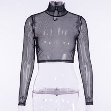 Load image into Gallery viewer, InstaHot Fishnet Turtleneck Mesh Crop Tops Women Sexy See Through Club Blouse Belt Choker Gothic Shirts Party Autumn Navel Plain