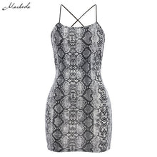 Load image into Gallery viewer, Macheda Sexy Cross Bandage Backless Bodycon Dress Women Sleeveless Halter Summer Dress Snake Print Short Party Casual Mini Dress