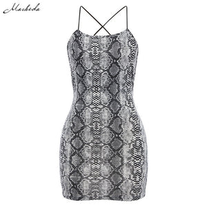 Macheda Sexy Cross Bandage Backless Bodycon Dress Women Sleeveless Halter Summer Dress Snake Print Short Party Casual Mini Dress