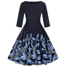Load image into Gallery viewer, Kenancy Floral Print Women Vintage Dress Rockabilly Swing Retro Dress Round Neck Half Sleeves Party Vestidos High Waist Dresses