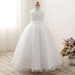 White Lace Flower Girl Dresses For Wedding Prom Party Event Gown Children Princess Girl Graduation Ceremony Dress Vestido 7 8 9