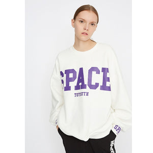 Toyouth Winter Pullover Sweatshirts Womens Harajuku Oversized Sweatshirt Loose O Neck Long Sleeve Letter Top Streetwear Top