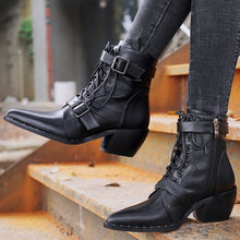 Load image into Gallery viewer, Prova Perfetto Brand Design Women Motorcycle Boots Fashion Rivet Buckle Lace Up Ankle Boots Pointed Toe Chunky Heel Zipper Botas