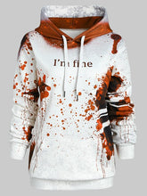 Load image into Gallery viewer, Wipalo Plus Size Blood Hoodies Sweatshirts Women I'M FINE Letter Print Jacket Halloween Hoodie Jumper Tracksuit Pullover Female