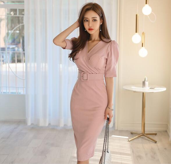 ZAWFL Pencil Dresses Womens Elegant Sexy Slim Party Evening Sheath Vestido Short Sleeves Korean OL Bodycon Dress with Belt