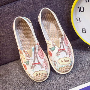 Women Slip On Print Fashionable Flats Canvas Autumn Female Flat Shoes Casual Breathable Striped Comfortable Ladies Footwear 2018