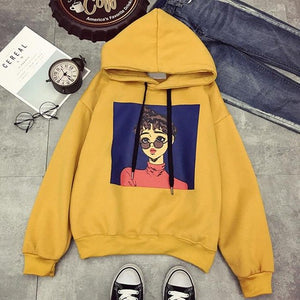 2018 New Character Cartoon Harajuku Punk Autumn Winter Women Hooded Sweatshirt Long Sleeve Casual Loose Fleece Hoodies