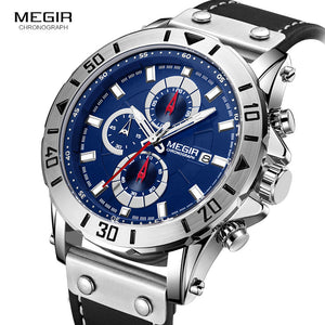 Megir Mens Watches 2018 Top Brand Luxury Chronograph Leather Sports Military Wrist Watch Man Relogios Masculino Relojes 2081Blue