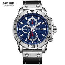 Load image into Gallery viewer, Megir Mens Watches 2018 Top Brand Luxury Chronograph Leather Sports Military Wrist Watch Man Relogios Masculino Relojes 2081Blue