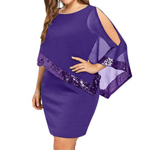 Load image into Gallery viewer, Wipalo Sexy Sequined Overlay Capelet Dress 2018 Dress O-Neck Short Sleeve Women Bodycon Party Dresses Vestidos Robe Femme 5XL