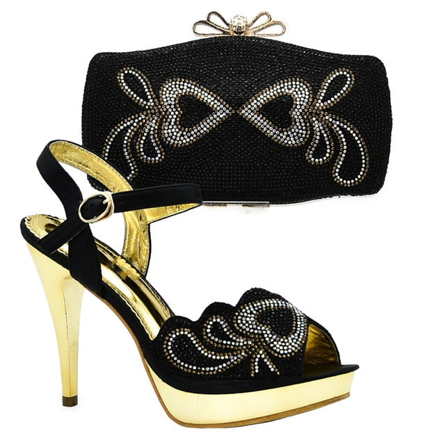 Latest Design Italian Designer Shoes and Bags Matching Set Decorated with Rhinestone Shoe and Bag for Nigeria Party Wedding Shoe