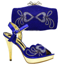 Load image into Gallery viewer, Latest Design Italian Designer Shoes and Bags Matching Set Decorated with Rhinestone Shoe and Bag for Nigeria Party Wedding Shoe