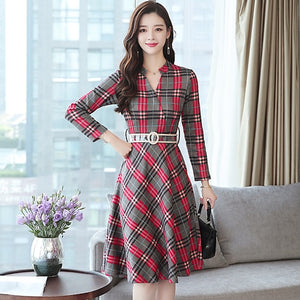 Autumn Winter 3XL Plus Size Vintage Midi Dresses 2018 Korean Women Elegant Bodycon Plaid Dress Party Long Sleeve Runway Vestidos