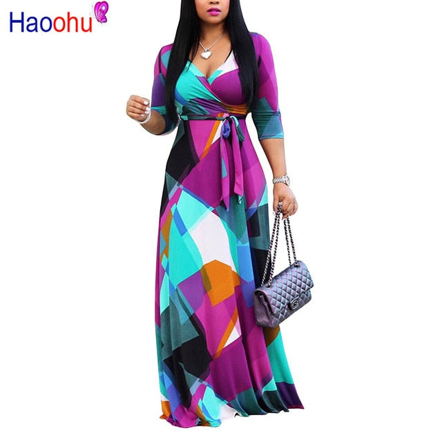 HAOOHU Autumn Winter Long Dress Women V Neck half Sleeve Retro Geometric Printing Vintage Dress 5XL  Plus Size Wrap Dress