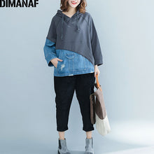 Load image into Gallery viewer, DIMANAF Women Hoodies Sweatshirts Autumn Winter Thicken Female Clothes Vintage Pullover Tops Loose Plus Size Denim Spliced 2018