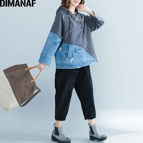 DIMANAF Women Hoodies Sweatshirts Autumn Winter Thicken Female Clothes Vintage Pullover Tops Loose Plus Size Denim Spliced 2018