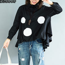 Load image into Gallery viewer, DIMANAF Women Blouse Shirts Plus Size Basic Tops Print Polka Dot Black Long Sleeve Female Office Lady Thin Loose Clothing Autumn