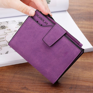 New Women Short Wallets Solid Vintage Matte Nubuck PU Female Fashion Zipper Wallet Coin bag Credit Card Holder More Color