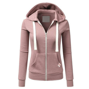Fashion Zipper Hoodies Sweatshirt Women Pink Hooded Long Sleeve Autumn Tracksuits Winter With Pockets Pullovers Coats Female