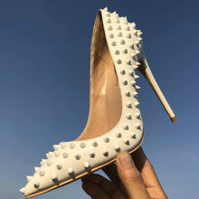 Load image into Gallery viewer, Keshangjia  White rivet PU leather high heels patent exclusive brand needle rivet shallow mouth high heels pump wave 10 cm 12cm