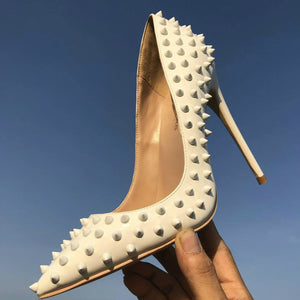 Keshangjia  White rivet PU leather high heels patent exclusive brand needle rivet shallow mouth high heels pump wave 10 cm 12cm