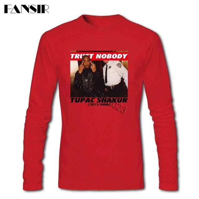 Discount Men T-shirt Tupac 2Pac Trust Nobody 100% Cotton Round Neck Long Sleeve Summer Top For Adult