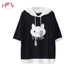 2018 Summer Japanese Style Cute Ear Girls Hoodies Women Casual Short Sleeve Cat and Fish Printed Hooded Pullovers Sweatshirts