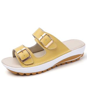 2018 New Summer Flat Sandals Shoes Women Leather Fashion Sandals Comfortable Shoes Women's Sandals Slippers Home 6 Colors