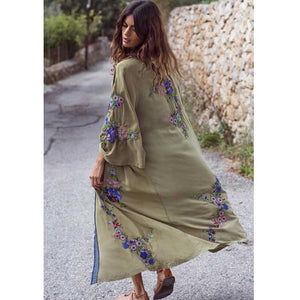 Boho Inspired embroidered kimono kaftan 2018 open front tie waist beach top contrast binding summer long blouse shirt 2018 blusa