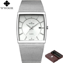 Load image into Gallery viewer, WWOOR Top Brand Luxury Mens Square Quartz Watches Male Waterproof Date Clock Black Stainless Steel Mesh Business Men Wrist Watch