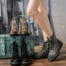 Load image into Gallery viewer, 2018 Women's autumn and winter low-heeled British Martin boots female scrub leather tube female boots women's motorcycle boots