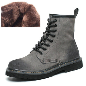 2018 Women's autumn and winter low-heeled British Martin boots female scrub leather tube female boots women's motorcycle boots
