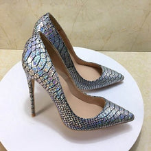 Load image into Gallery viewer, 2018 new style size 35-43 high heeled lady pumps shallow pointed toe woman shoes party shoes slip-on PU leather wedding shoes